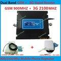 Venda quente LCD Dual Band 3G W-CDMA 2100 MHz GSM 900 Mhz Celular UMTS Reforço de Sinal de telefone GSM 900 2100 Repetidor de Sinal de Celular Amplificador
