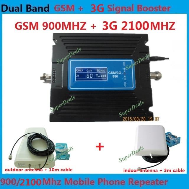 Venta caliente LCD de Doble Banda 3G W-CDMA 2100 MHz GSM 900 Mhz Celular Amplificador de Señal de teléfono GSM 900 2100 UMTS Repetidor Móvil de la Señal Del Amplificador
