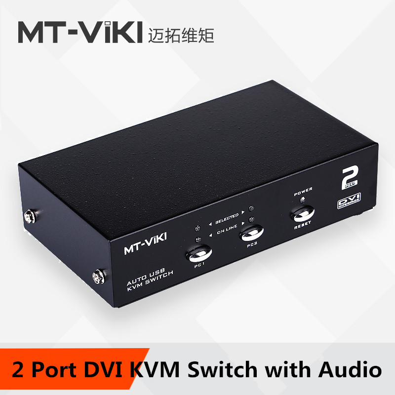 MT VIKI Maituo 2 Port DVI KVM Switch With Audio USB Mouse Keyboard Auto Hotkey PC Host Selector 2102DL In Computer Cables Connectors From