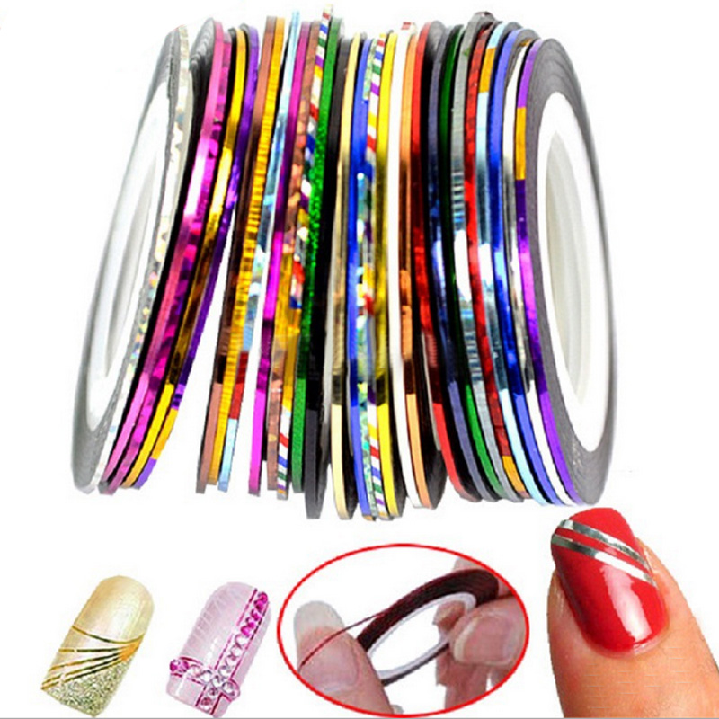 30Pcs Mixed Colorful Nails Beauty Rolls Striping Decals Foil Tips Tape Line DIY Design Nail Art Stickers nail Tools Decorations 14 rolls glitter scrub nail art striping tape line sticker tips diy mixed colors self adhesive decal tools manicure 1mm 2mm 3mm