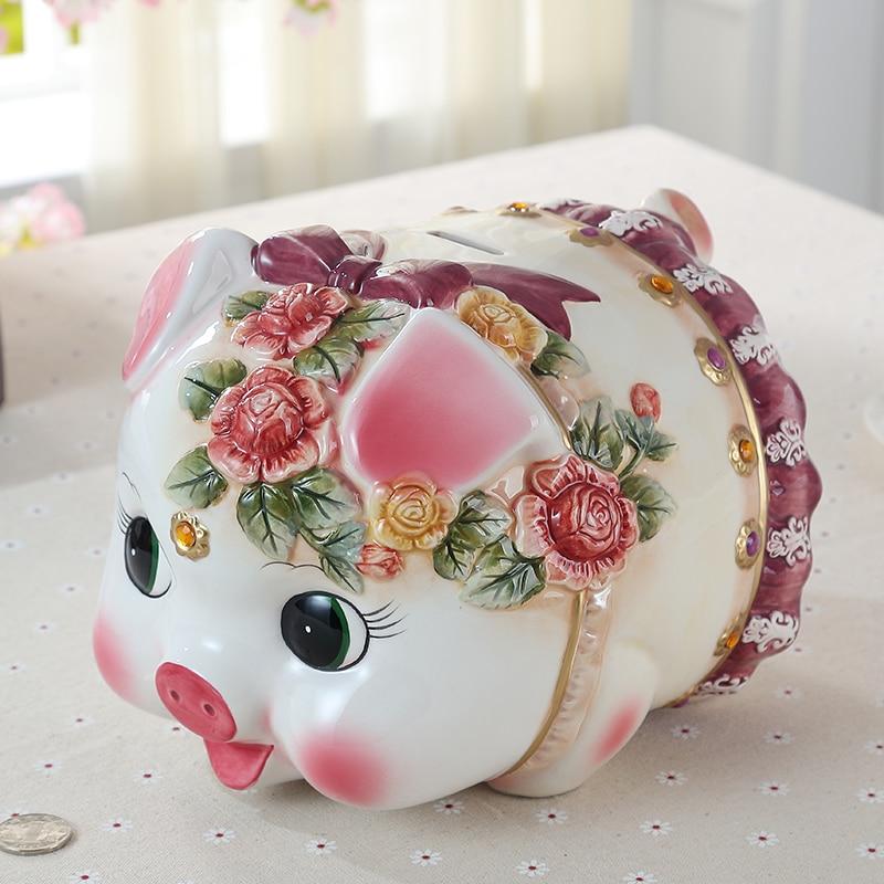 ceramic lucky pig money bank for kids gift coin bank piggy modern home  decors cute pig shape money box