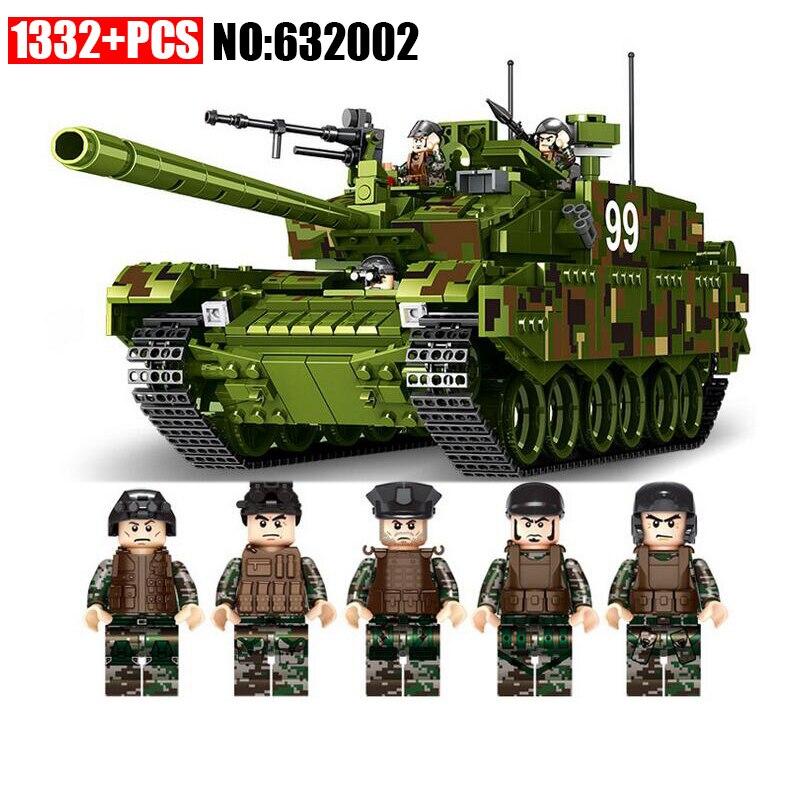 AIBOULL PLS Military 632002 1339pcs TYPE 99 Main Battle Tank Building Blocks Bricks enlighten toys for children Compatible legoe 8 in 1 military ship building blocks toys for boys