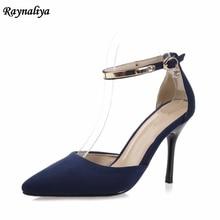 цена на 2018 Plus Size 33-43 Women Shoes Pointed Toe Pumps Suede Leather Dress Shoes High Heels Ladies Wedding Shoes 9CM XZL-B0036