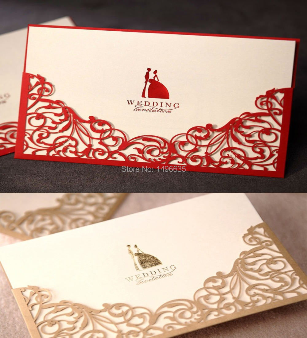 CCinvite Design Laser Cut Floral Red Gold Wedding invitations Cards ...
