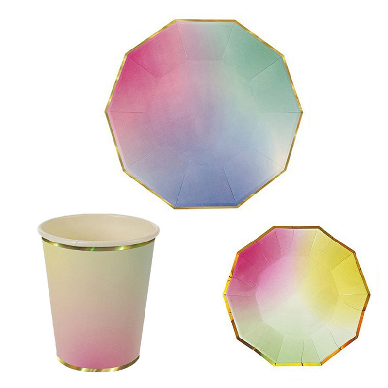 Creative Illusive Colored High-end Disposable Tableware Set Paper Plates Cups Party Wedding Carnival Tableware Supplies(China (Mainland))