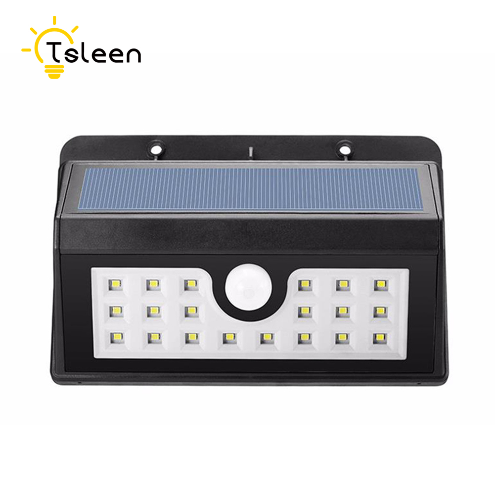 TSLEEN Led Lights PIR Motion Sensor Solar Wall Lamp Solar Powered Lighting Solar Lights Waterproof Outdoor Garden Stairway Lamp