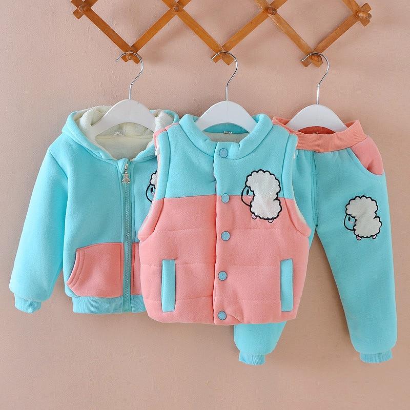 2018 crianças conjunto meninos meninas conjuntos de roupas inverno 3 pçs com capuz algodão-almofada jaqueta + calças + colete neve quente crianças roupas terno traje