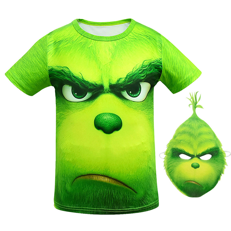 New Green Cosplay Costume Boy Halloween Christmas Carnival Short Sleeve T-Shirt Mask for Kids Clothes Boy Street Costumes