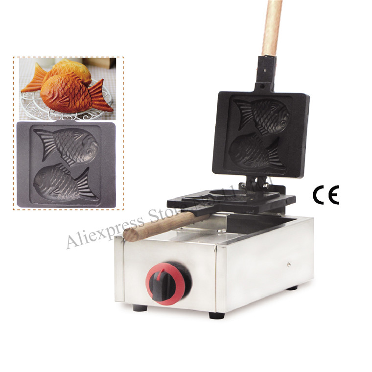 Stainless Steel Gas Taiyaki Waffle Maker Fish-shape Waffle Iron Gas Stove Great Snack Machine With 2 Moulds
