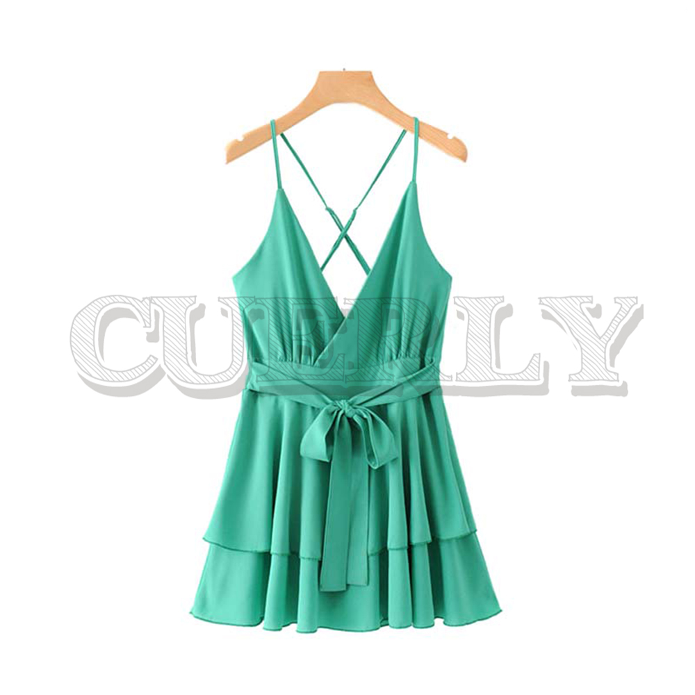 CUERLY women sexy lace up mini dress V neck sashes adjustable straps sleeveless backless female club style dresses vestidos in Dresses from Women 39 s Clothing