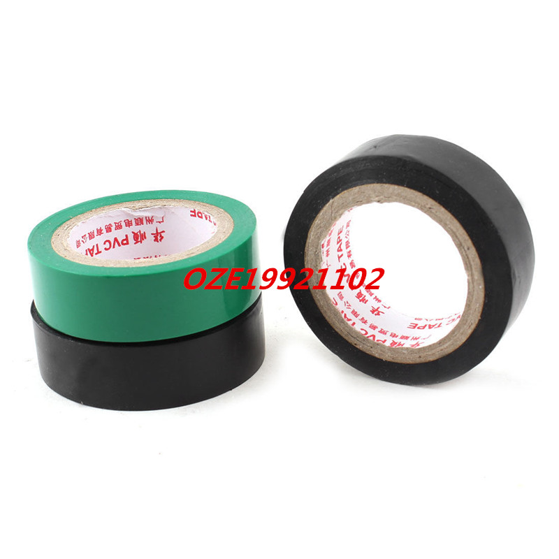 3 Pcs 5M 15mm Width 9mm Thick Insulation Adhesive Electrical Tape Green Black totem 15 2016 green black