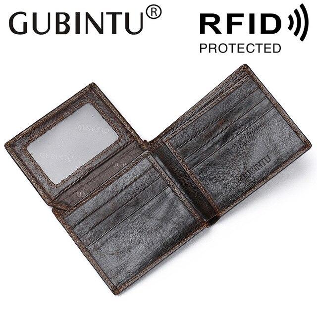 d99501681 GUBINTU Brand RFID Protection Genuine Leather Men Wallets High Quality  Designer Wallet Purses Gift For Men
