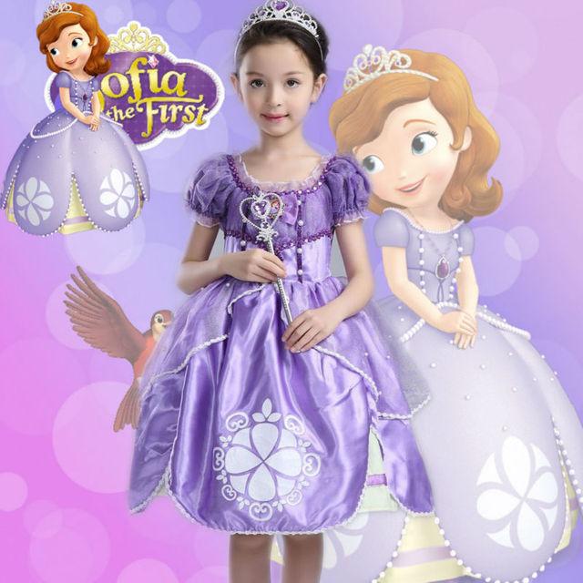 2016 novo de Varejo 1 peça meninas vestido de princesa Fofo vestido de sofia meninas vestido de princesa Sophia vestido de festa 3-9Y meninas roupas