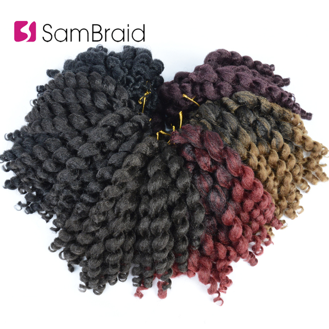 SAMBRAID Ombre Jumpy Wand Crochet Braids 22 Roots Jamaican Bounce Curl Crochet Hair Synthetic Braiding Hair Extensions