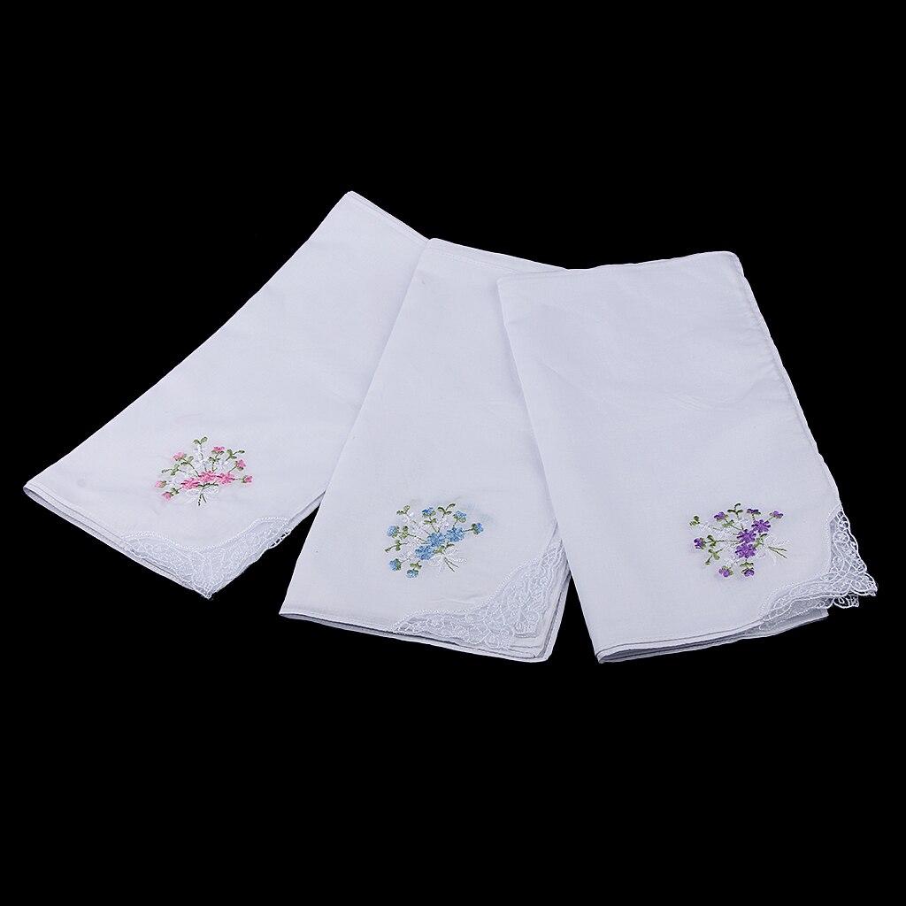 Atacado 12 vintage feminino senhora flor bordado 100% algodão bolso quadrado lenços festa branco hanky