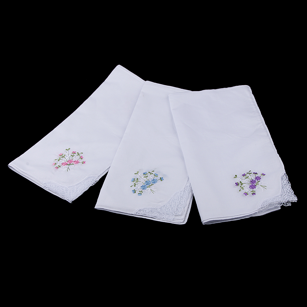 Wholesale 12 Vintage Women Lady's Flower Embroidery 100% Cotton Pocket Square Handkerchiefs Party White Hanky