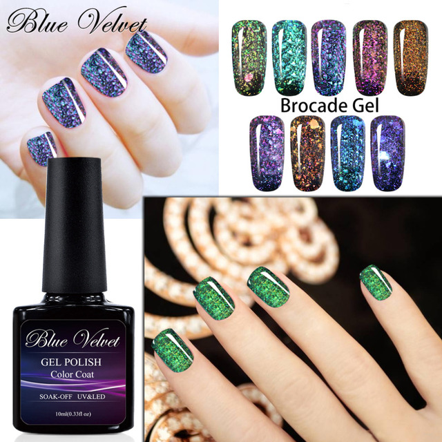 Blue Velvet 10ml Chameleon Brocade Gel Nail Polish Soak Off UV GEL ...