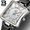 Suiza BINGER relojes hombres marca de lujo Tonneau Relojes correa de cuero de Cuarzo impermeable B3038