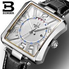 Suisse BINGER montres hommes marque de luxe Tonneau Quartz étanche bracelet en cuir Montres B3038