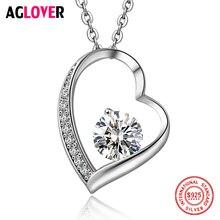 Фотография New Arrivals Heart Necklace 925 Sterling Silver Women Charm Jewelry Round 7mm AAAA Zircon Pendant Necklace Women Luxury Jewelry