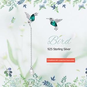 Image 2 - Cdyle 925 Sterling Silver Bird Earrings Embellished with Crystal from Swarovski Stud Earrings for Women Piercing Oreja