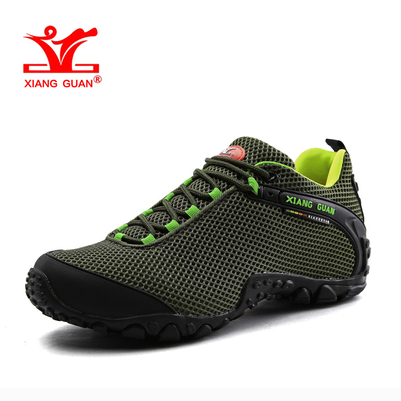 XIANGGUAN Man Hiking Shoes Men Mesh Breathable Trekking Boots Green Zapatillas Sports Climbing Shoe Outdoor Walking Sneakers camo breathable water resistant lace up high top mesh outdoor sports trekking hiking shoes men camping travel climbing sneakers