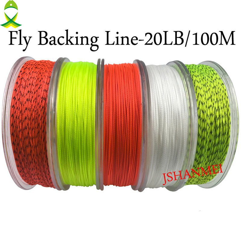 Jsm 2pcs lot 100m braided backing line multicolor fishing for Fly fishing backing