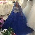 Royal Blue Плюс Размер Свадебные Платья Кристалл Bling Бальные Платья Тюль Свадебные Платья vestidos de novia Z1087