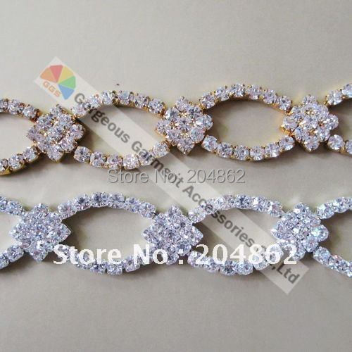10yd 20mm Diamond Czech Clear crystal rhinestone chain Luxury Stunning  Diamante Applique Trims For DIY Browbands Wedding Making-in Rhinestones  from Home ... e969059d72d3
