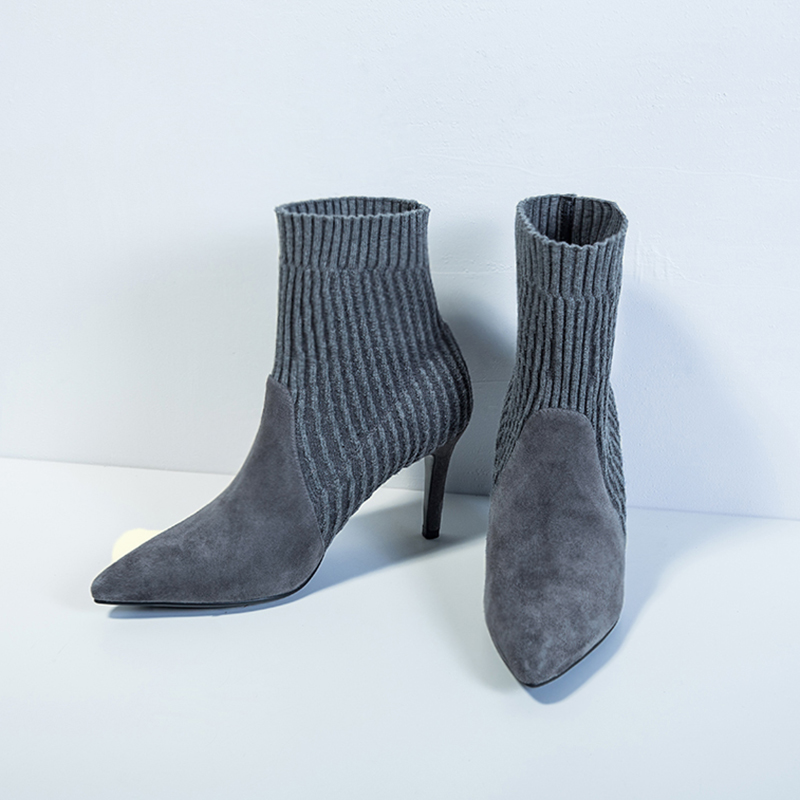 gris Mince 39 Noir Cheville Du Parti Taille Chaussette Femme Talons D'hiver Chaussures Slip Tricot Pour Bout Sur Bottes 34 forme Hauts Eshtonshero Pointu Plate n1q4wgzBxw