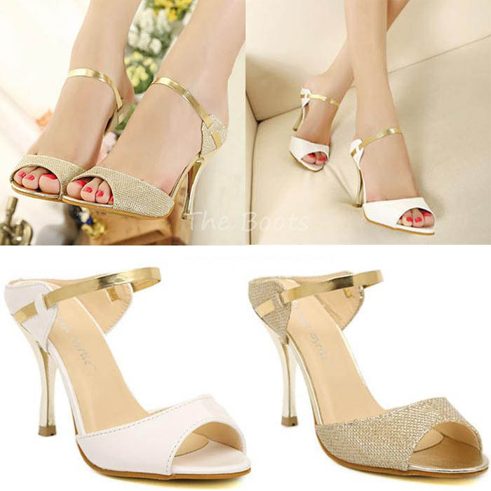 Aliexpress.com : Buy Womens White Patent Leather Gold Peep Open