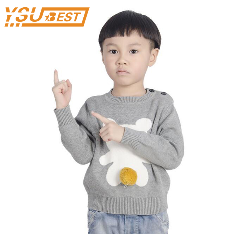 0-5yrs Kids O-Neck Sweaters 2017 Baby Boys Girls Sweaters Cartoon Bear Cute Cotton Knitted Children Clothing Boys Girls Clothes