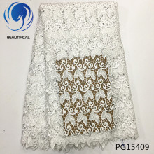 Beautifical guipure lace fabric african cord white latest 5yards/piece for women dress PG154