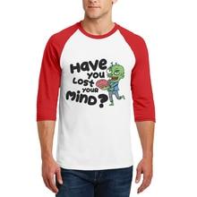 2019 New Product Men T Shirt Three Quarter Raglan Sleeves T-Shirt Cartoon Zombie Letter Printed High Quality Cotton Mens Tshirts