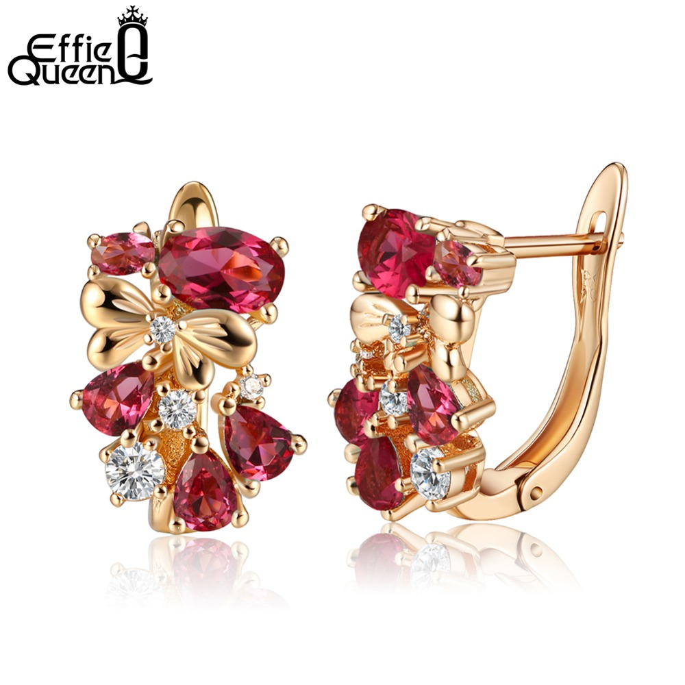 8378414b7 Effie Queen Elegant Red Crystal Fashion Jewelry for Women Trendy Gold Color  Stud Earrings Female Wedding Party Best Gift DDE60 R-in Stud Earrings from  ...