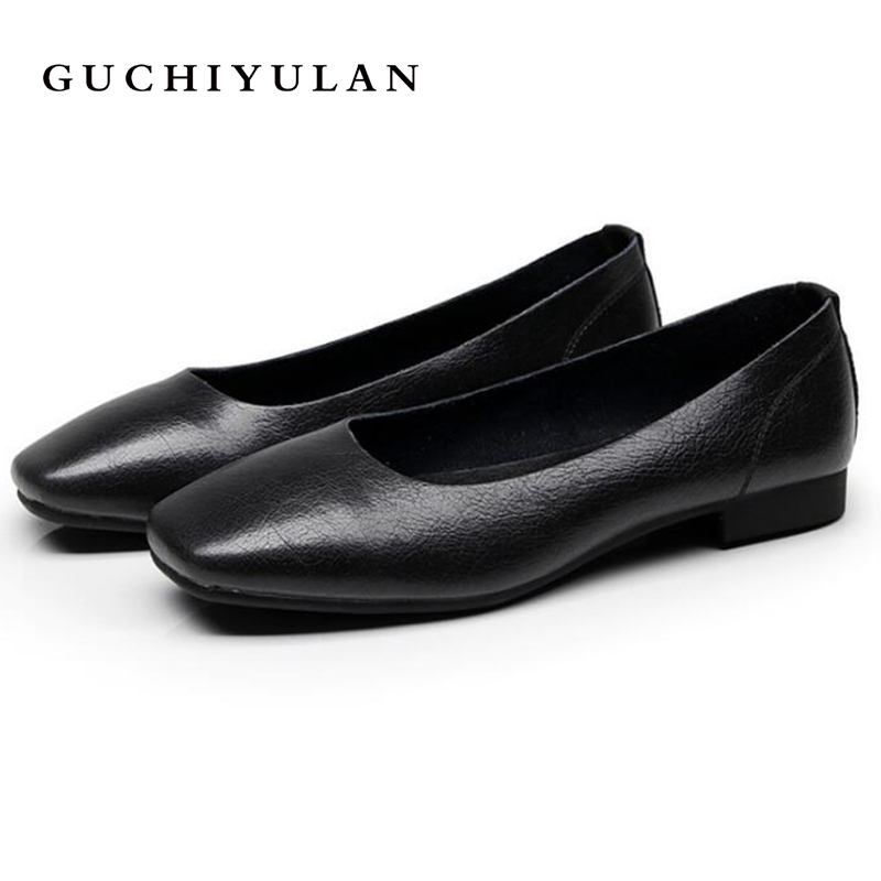 2018 Vintage Art handmade shoes Cowhide Leather Flats Women Shoes Shallow mouth Casual Fashion Women Shoes black Plus Size 41-43 aiyuqi 2018 spring new genuine leather women shoes shallow mouth casual shoes plus size 41 42 43 mother shoes female page 1