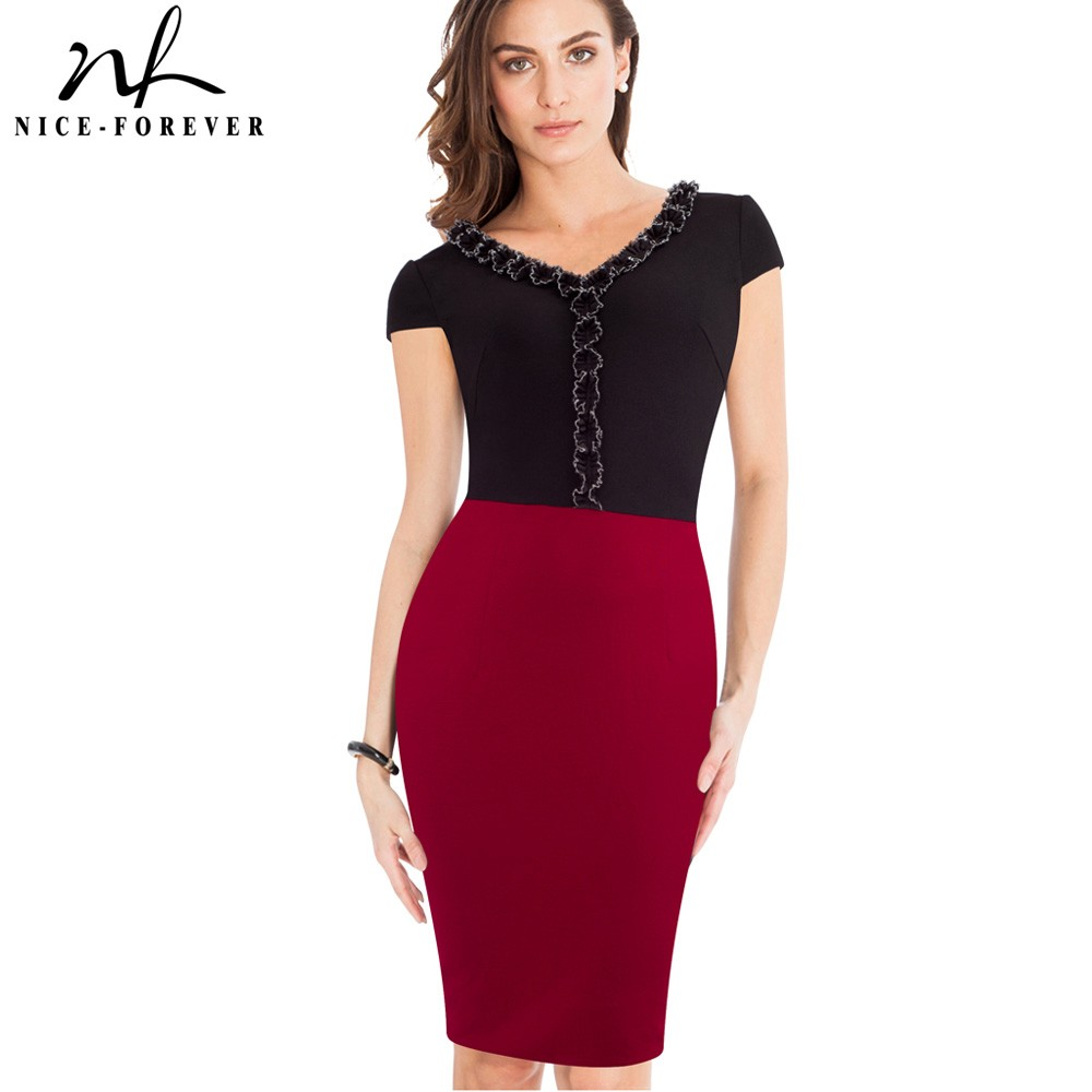 9eb8ea999524 Nice-forever Vintage Color Block Wear to Work Cap Sleeve V Neck with Lace  Bodycon
