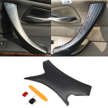 Carbon Fiber Texture Car Interior Door Handle Cover Hand Sewing Panel Pull Trim For BMW 3 Series E90 325 330 318
