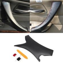 Углеродного волокна Текстура салона автомобиля Дверная ручка Обложка рук Швейные двери панелей, ручек Pull Trim для BMW 3 серии E90 325 330 318