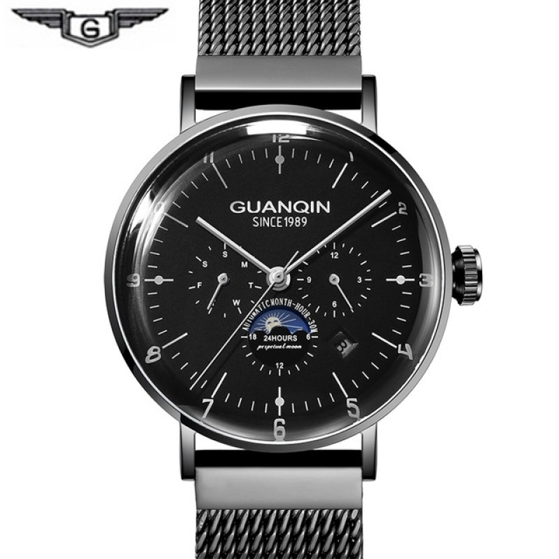 2019 Sport Watches for men GUANQIN High end Automatic Watch men Calendar Week Month Milanese Strap Moon Phase Mechanical Watches