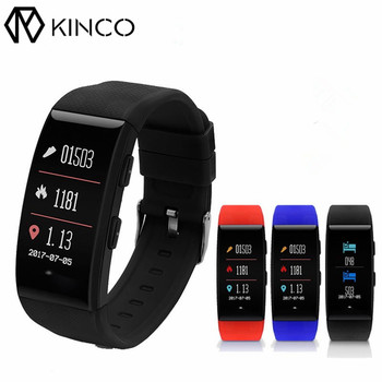 KINCO 0.96inch OLED GPS Heart Rate Monitor IP68 Waterproof Temperature Smart Bracelet Pressure Sport Wristband for IOS/Android