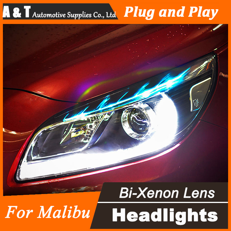 цена на Car Styling for Chevrolet Malibu Headlights Malibu LED Headlight DRL Lens Double Beam H7 HID Xenon bi xenon lens
