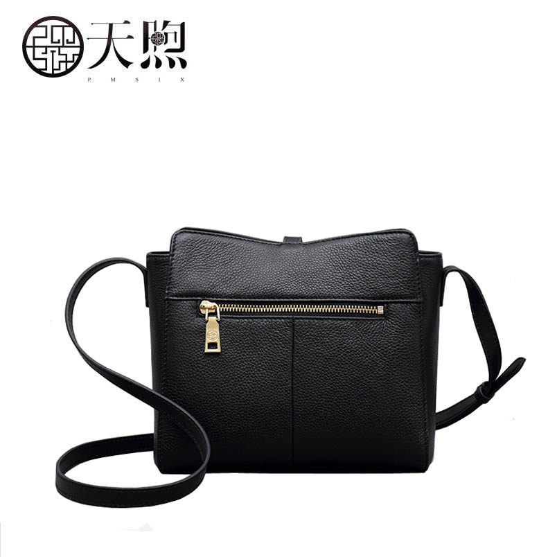 2019 New Pmsix Genuine Leather bags Superior cowhide fashion women bag  black leather shoulder women crossbody bags-in Shoulder Bags from Luggage    Bags on ... 929ce3da27fb