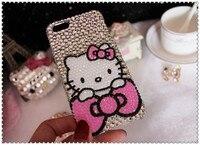 3D Hello Kitty Crystal Phone Case Bling Glitter Diamond Bumper Cover For Samusng Note 5 4