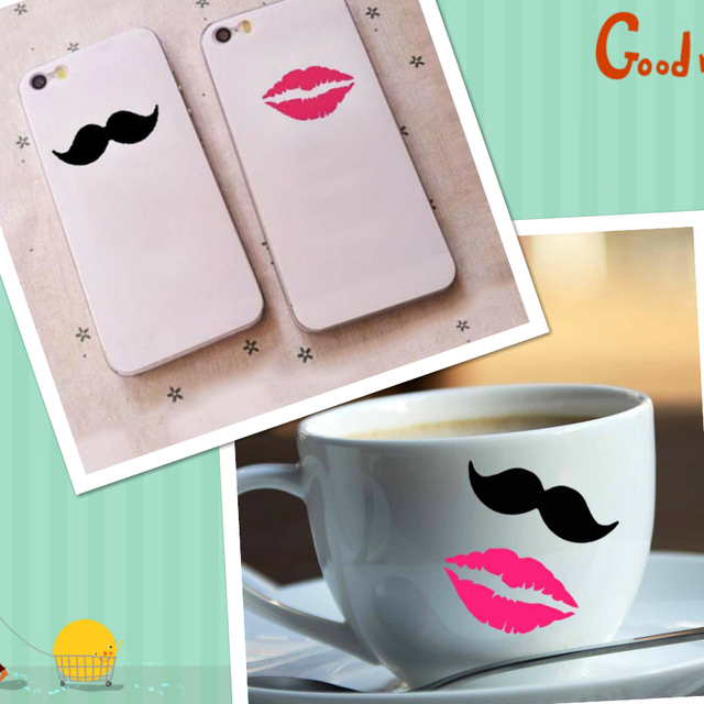 10 pairs of mustaches lips vinyl decal wall stickers wine glass mugs cups cell phone tiny