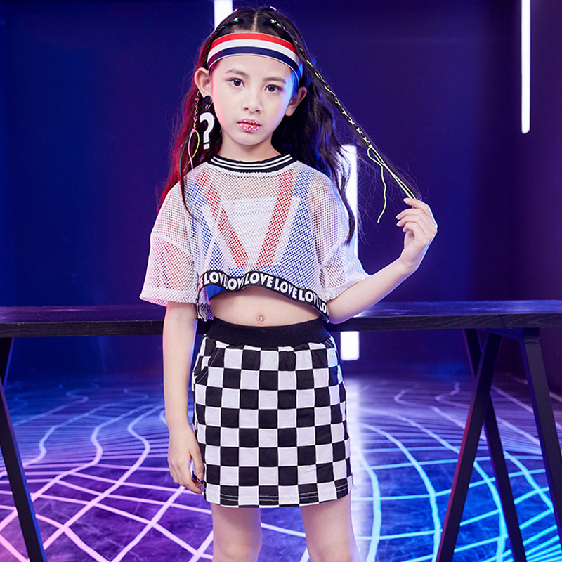 Jazz Dance Costumes Girls Costume Kids Hip Hop Clothes Skirt Suit Children Street Dance Clothing Stage Costume Dance Wear VDB366