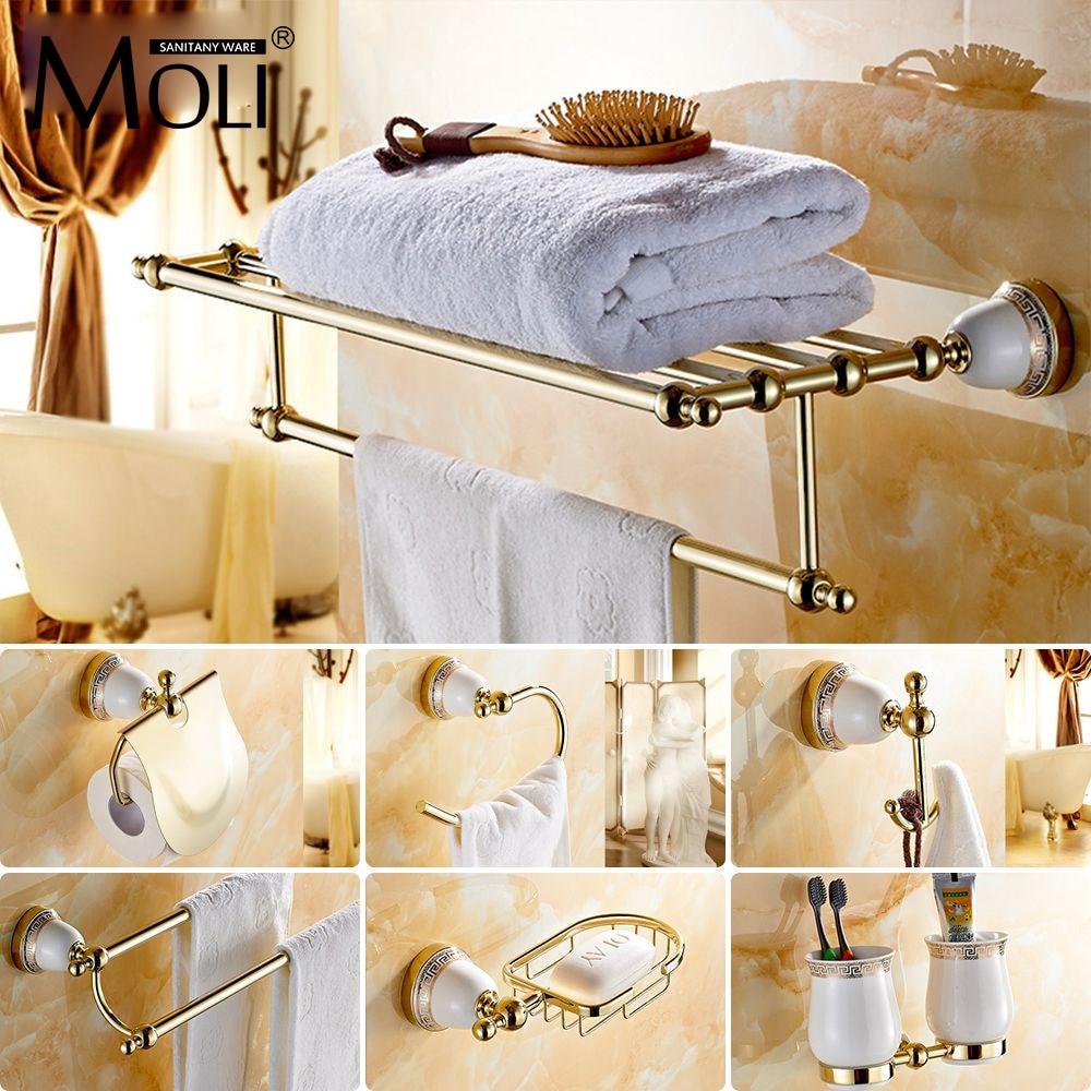 Chinese Style Ceramic Gloden Bath Hardware Bathroom Accessories Set Robe Hook Paper Holder Toilet Brush
