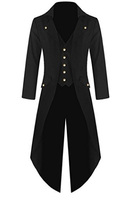 Free Shipping Men's Steampunk Vintage Tailcoat Jacket Gothic Victorian Frock Black Coat and Vest Uniform Costume For Halloween