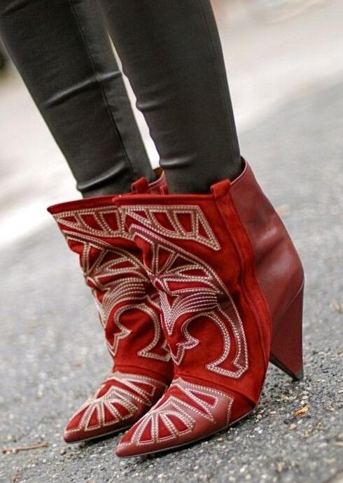 Autumn Fashion Burgundy Suede Leather Ankle Boots Totem Style Ladies Finger Heel Boots Sexy Pointy Toe Knight Style Slip On BootAutumn Fashion Burgundy Suede Leather Ankle Boots Totem Style Ladies Finger Heel Boots Sexy Pointy Toe Knight Style Slip On Boot