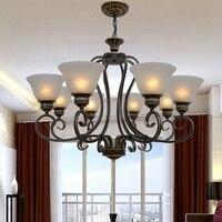 Loft Style 6 8 10 Head Suspension Wrought Iron Chandelier 110V 220v E27 Lighting Lustre Design